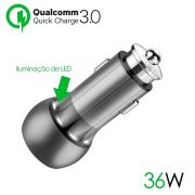 Carregador Veicular 2 Portas Usb Turbo Qualcomm 3.0 C/cabo - RPC-COMMERCE