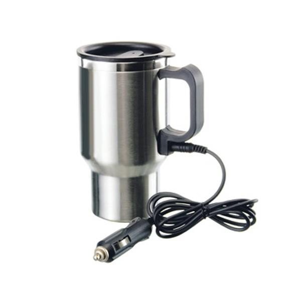 Caneca térmica Inox 450 mL aquecimento elétrico carro 12VDC - RPC-COMMERCE