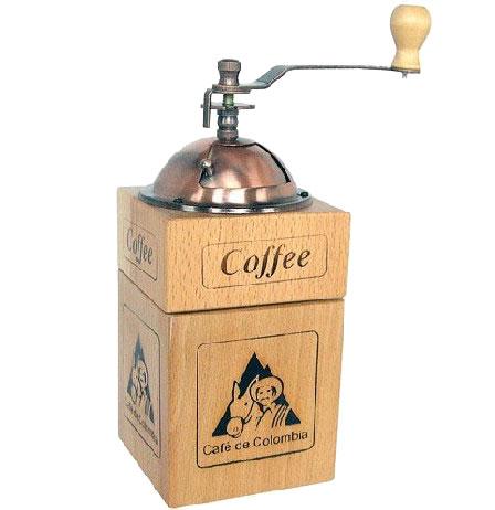 Moedor manual de café em madeira e cobre - RPC-COMMERCE