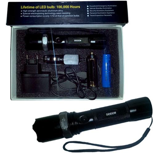 Lanterna Tática de Led Recarregável - 5000W/14000 Lúmens - RPC-COMMERCE