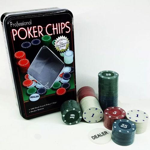 Kit Poker Profissional Super Luxo em lata com 100 fichas - RPC-COMMERCE