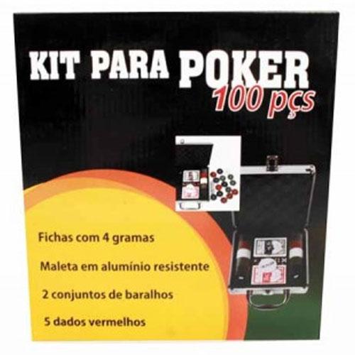 Kit Poker Profissional Super Luxo com Maleta - 100 fichas - RPC-COMMERCE
