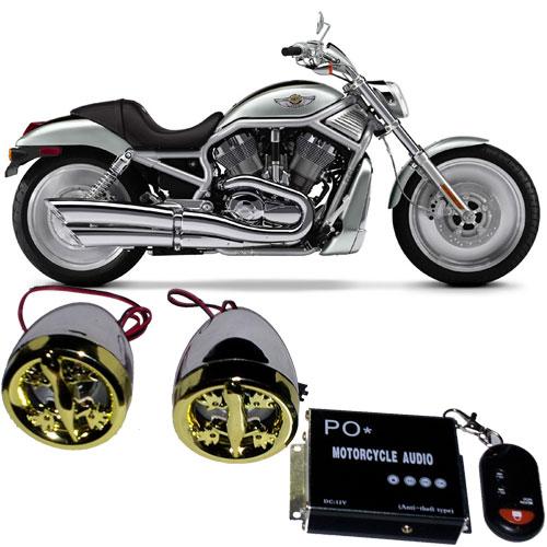 Som Mp3 (SD e USB), Alarme, rádio FM com controle para Moto - RPC-COMMERCE