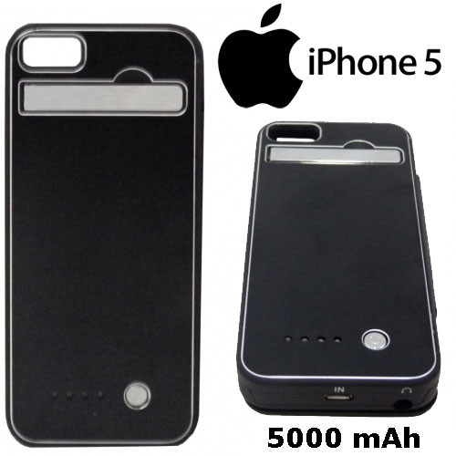 Capa Case Bateria Externa Iphone 5 Ultra Slim - 5000 mAh Preta - RPC-COMMERCE