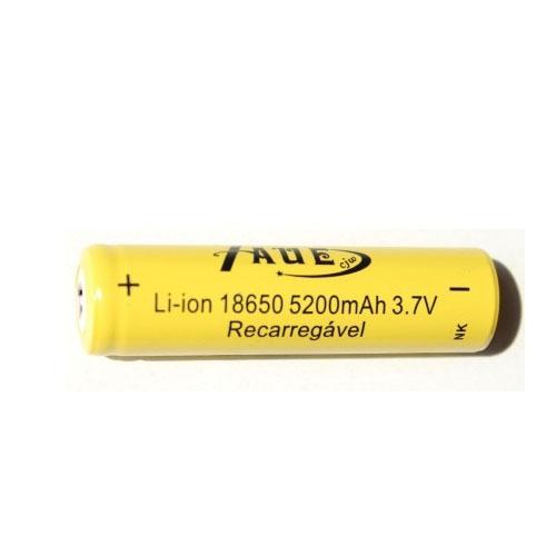 Bateria Taue 18650 5200mah 3.7v Li-ion - Recarregável - RPC-COMMERCE