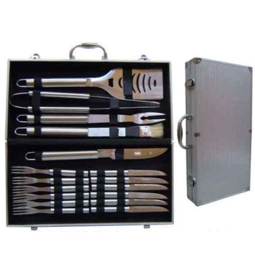 Kit churrasco com Maleta em alumínio - 17 peças em inox - RPC-COMMERCE