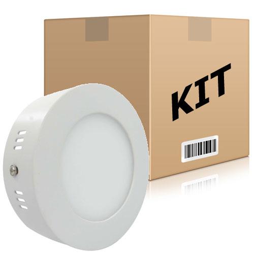 Kit 10 Painel Plafon Redondo Luminária Sobrepor Led 6w Bivolt Branco Frio - RPC-COMMERCE