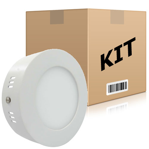 Kit 10 Painel Plafon Redondo Luminária Sobrepor Led 6w Bivolt Branco Quente - RPC-COMMERCE