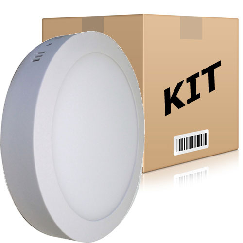 Kit 10 Painel Plafon Redondo Luminária Sobrepor Led 18w Bivolt Branco Frio - RPC-COMMERCE