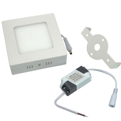 Painel Plafon Quadrado Luminária Sobrepor Led 6w Bivolt Branco Quente - RPC-COMMERCE