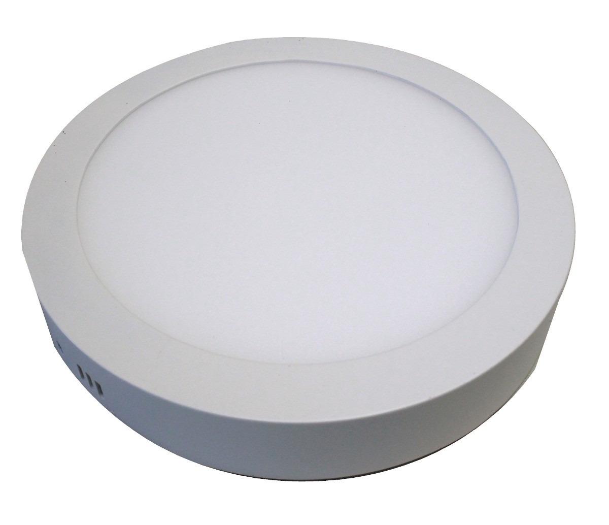 Kit 10 Painel Plafon Redondo Luminária Sobrepor Led 24W Bivolt Branco Quente - RPC-COMMERCE