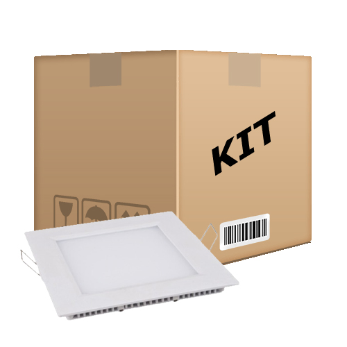 Kit 10 Painel Plafon Quadrado Luminária Embutir Led 12W Bivolt Branco Frio - RPC-COMMERCE