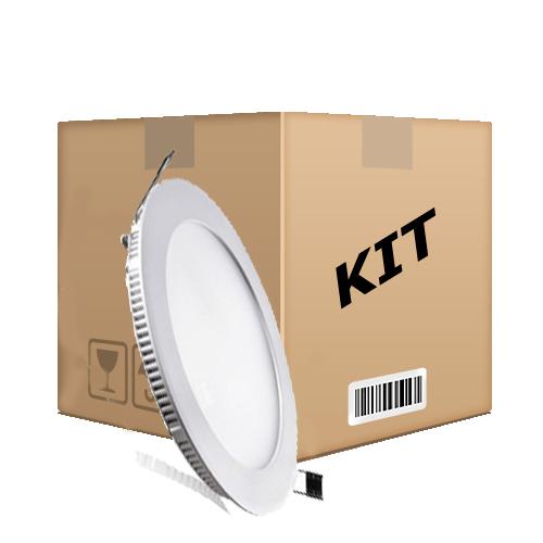 Kit 10 Painel Plafon Redondo Luminária Embutir Led 12w Bivolt Branco Quente - RPC-COMMERCE