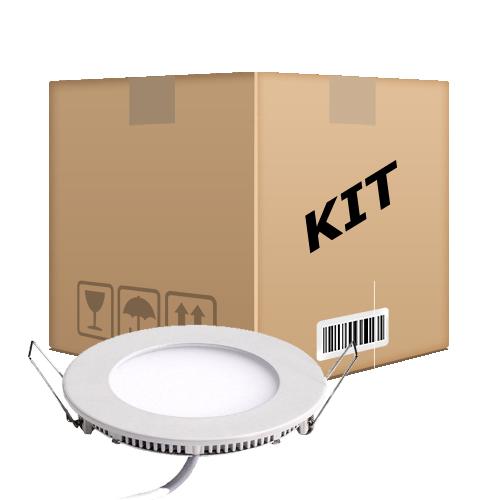 Kit 10 Painel Plafon Redondo Luminária Embutir Led 6w Bivolt Branco Quente - RPC-COMMERCE