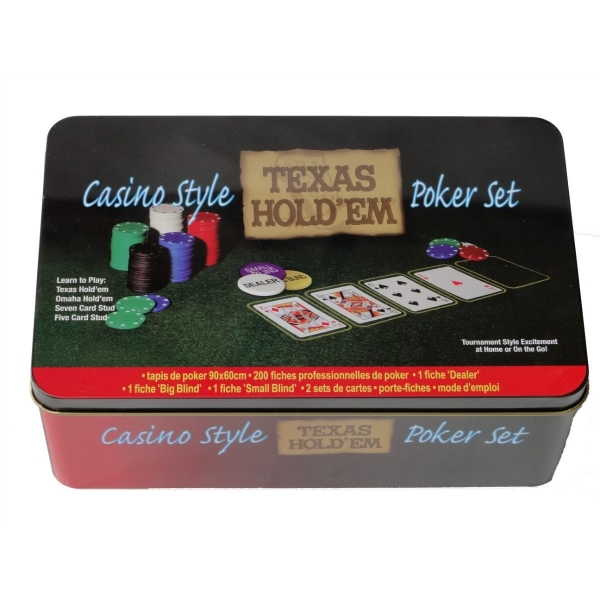 Kit Poker Texas Holdem lata 200 fichas 2 baralhos Feltro - RPC-COMMERCE
