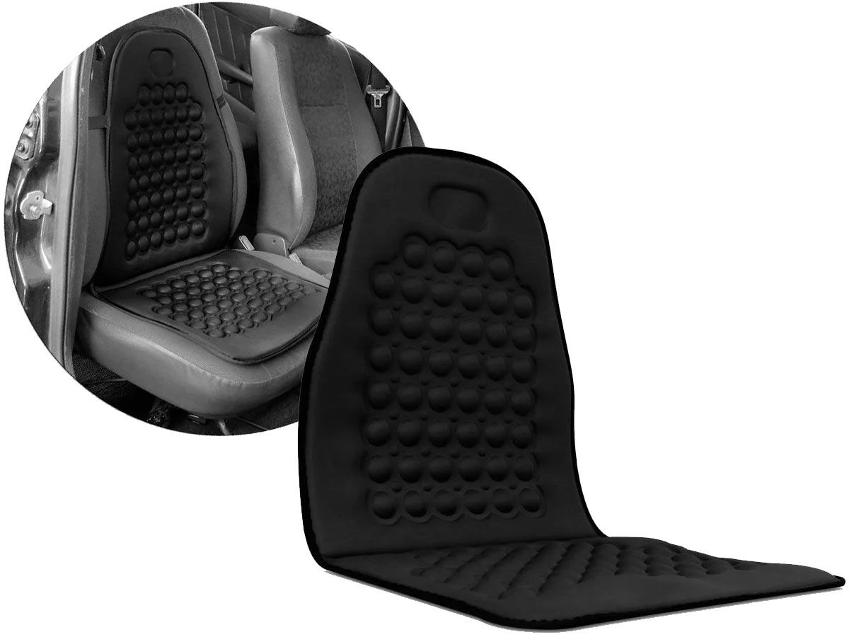 Capa Massageadora Assento Carro Encosto Preto Universal - RPC-COMMERCE