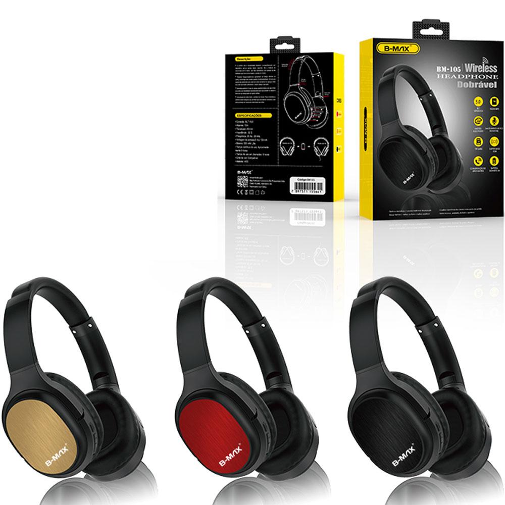 Fone De Ouvido Headphone Bluetooth Sem Fio Micro SD FM BM105  - RPC-COMMERCE