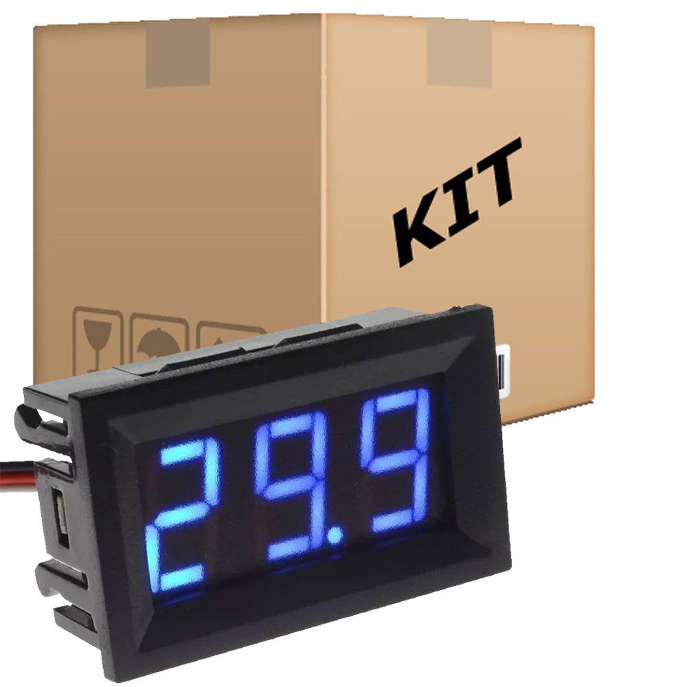 Kit 10 Voltímetros Digitais 100v 9v 12v 24v 36v 48v Led Azul 3 Fios - RPC-COMMERCE