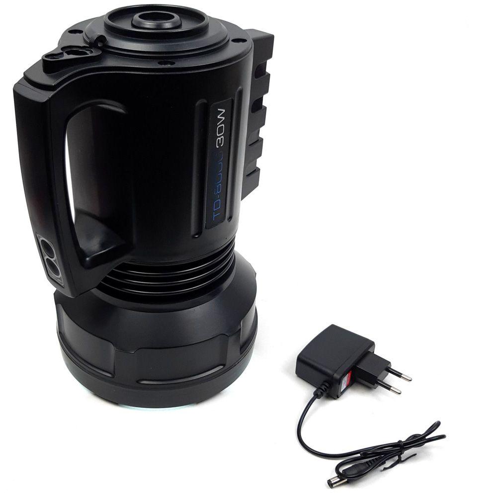 Lanterna Led Holofote Recarregável 30w T6 Alta Potência TD-8000 - RPC-COMMERCE