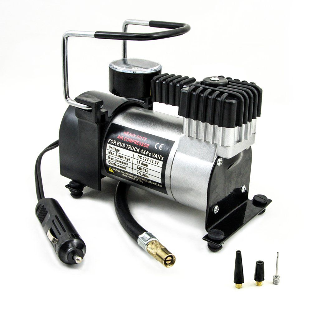 Mini compressor de ar 12v p/ pneu de carro, moto e bicicleta - RPC-COMMERCE