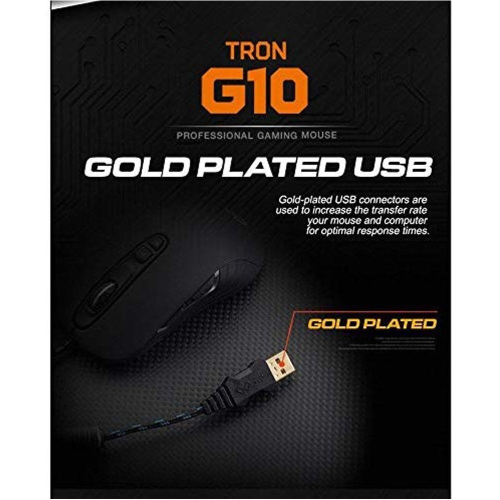 Mouse Gamer Profissional Maxtill Tron G10 4000 Dpi 7 Botões - RPC-COMMERCE