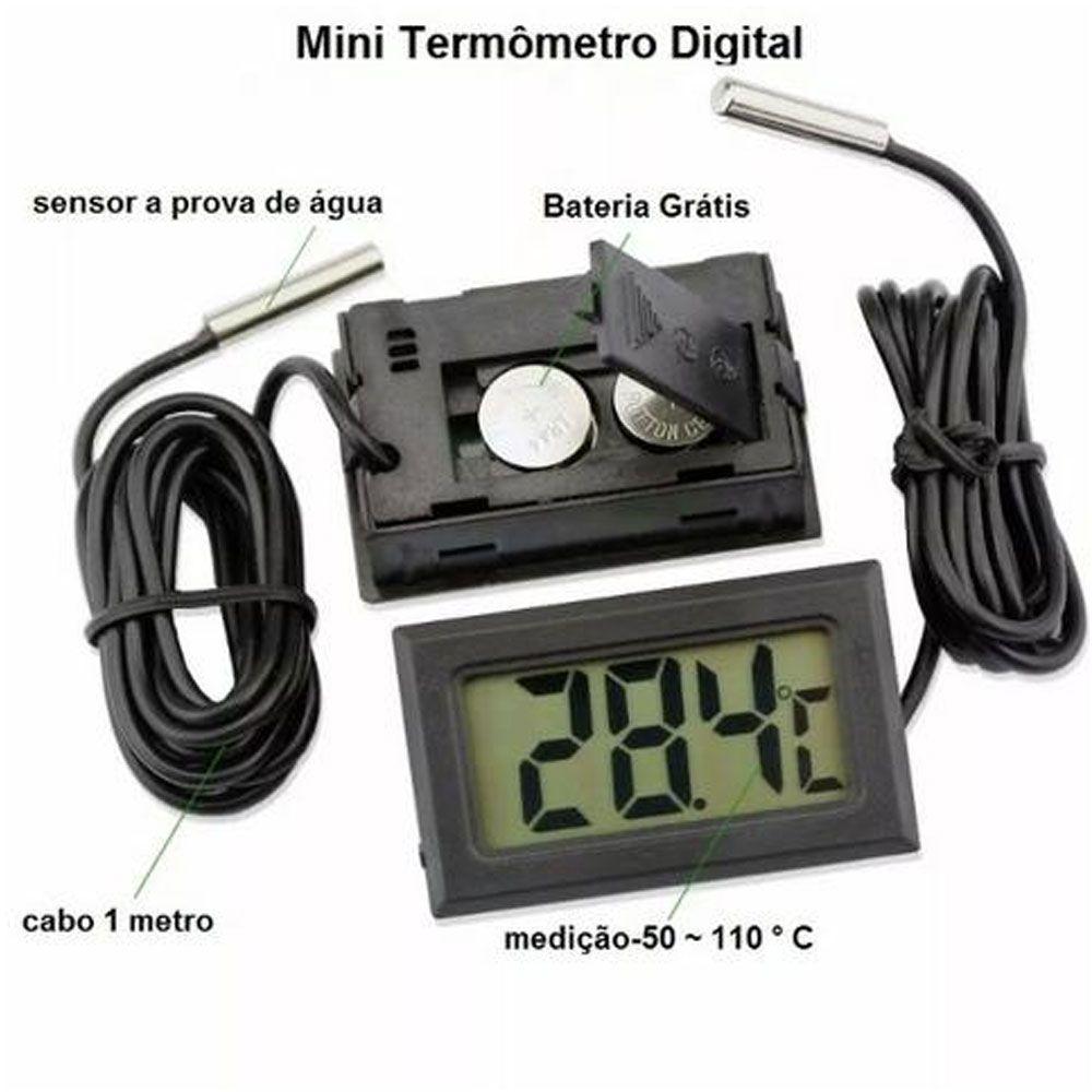 Termômetro Digital para Aquário Freezer Estufa -50 a 110ºC - RPC-COMMERCE