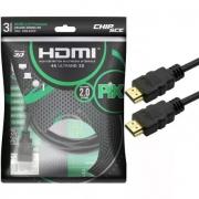 Cabo HDMI Gold 2.0 4K HDR 19P 3,0M Pix