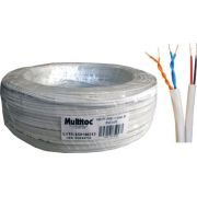 Cabo Manga CFTV 2 Pares + 2X26 AWG Branco c/ 100mts Multitoc