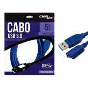 Cabo USB 3.0 A Macho X A Femea 5 Metros  ChipSCE