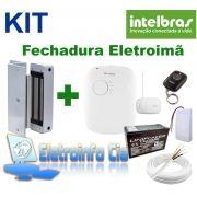 Kit Fechadura Eletroima FE20150 + Fonte FA1220S + Receptor + Controle + Botoeira + Bateria Intelbras