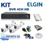 Kit Completo Gravador de Video Digital DVR 4 Canais 720P Elgin