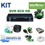 Kit Completo DVR 8 Canais 720P + 4 Câmeras Intelbras