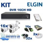 Kit Completo Gravador de Video Digital DVR 16 Canais 720P Elgin