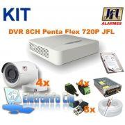 Kit Completo Gravador de Video Digital DVR 8 Canais 720P + 4 Câmeras JFL