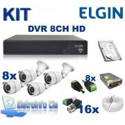 Kit Completo Gravador de Video Digital DVR 8 Canais 720P Elgin