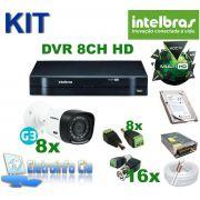 Kit Completo Gravador de Video Digital DVR 8 Canais 720P Intelbras