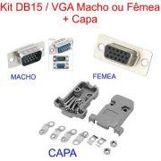 Kit Conector Db9 ou DB15 Macho ou Fêmea C/ Pinos Solda Fio + Capa
