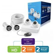 Kit DVR 1080N 4 Canais + 4 Câmeras AHD 720P 1/4 3.6MM SE118 Multilaser