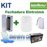 Kit Fechadura Eletroima FE20150 + Fonte FA1220S + Botoeira + Bateria Selada Intelbras