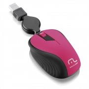 Mouse Retrátil Emborrachado USB Rosa MO233 Multilaser