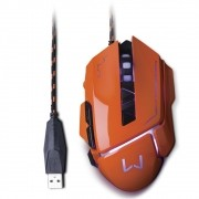 Mouse Warrior Gamer USB 3200 DPI Laranja MO263 Multilaser