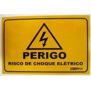 """Placa Advertência """"Perigo Risco de Choque Elétrico"""" 18x13CM Alumínio"""