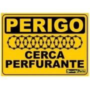 """Placa Advertência """"Ceca Perfurante"""" 18x13CM Aluminio"""