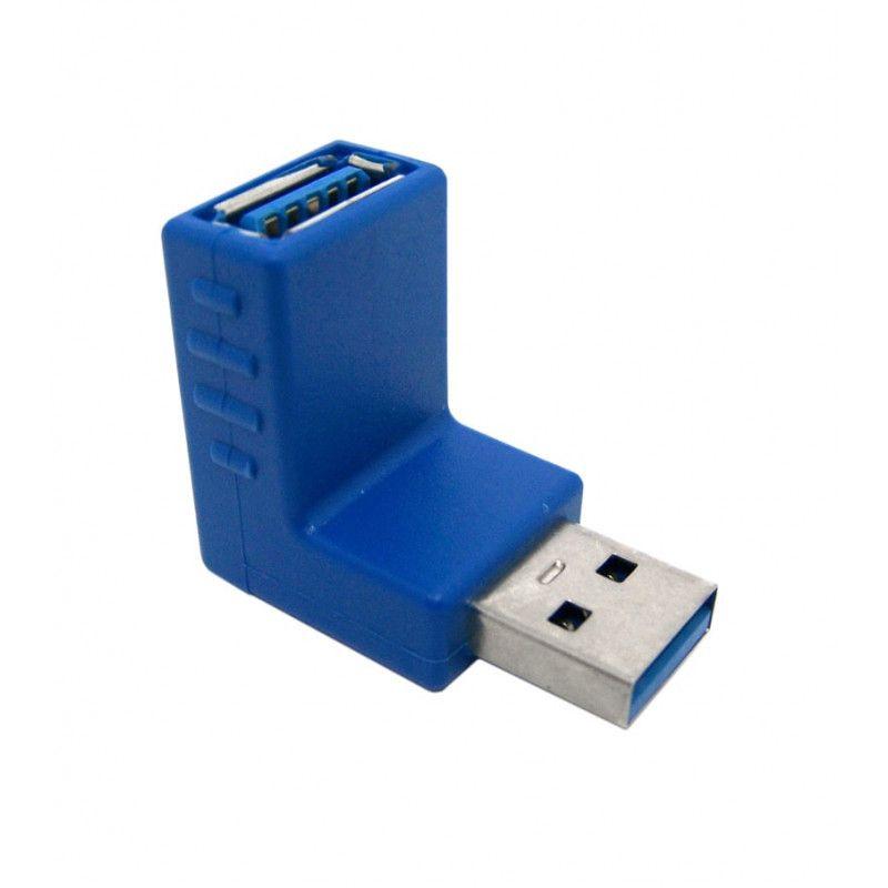 Adaptador USB 3.1 A Fêmea para USB 3.1 A Macho 90° Graus - Chipsce 5+  - Eletroinfocia