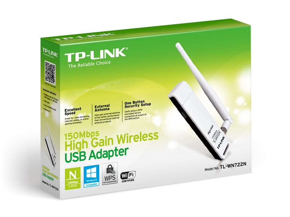 Adaptador Wireless USB Alto Ganho N 150Mbps TL-WN722N BR TP-Link  - Eletroinfocia