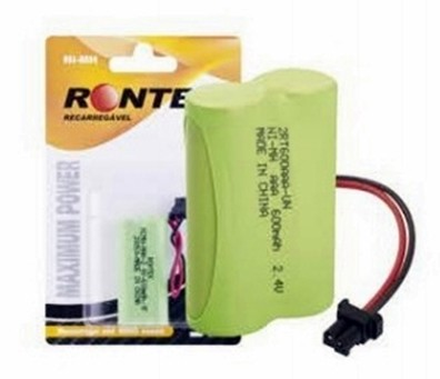 Bateria p/ Telefone S/ Fio 2XAAA 2,4V 800mAh Ni-Mh (Conector Universal) Rontek