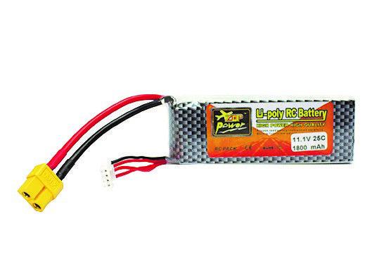 Bateria Recarregável 11,1V 3S1 Lítio 25C 105X35X23mm 1800MAH Rontek  - Eletroinfocia