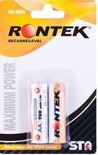 Bateria recarregavel AA 700mAh 1,2V c/ 02 UN Rontek  - Eletroinfocia