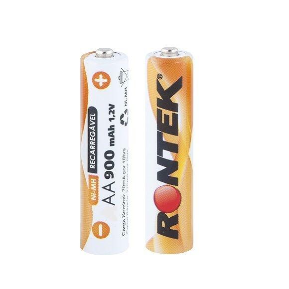 Bateria recarregavel AA 900mAh 1,2V c/ 02 UN Rontek
