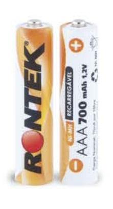 Bateria Recarregável AAA 1,2V 700mAh (11x45mm) c/ 02 UN Rontek